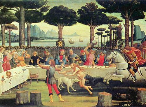 """La novella di """"Nastagio degli Onesti"""" nella serie dipinta da Botticelli"""