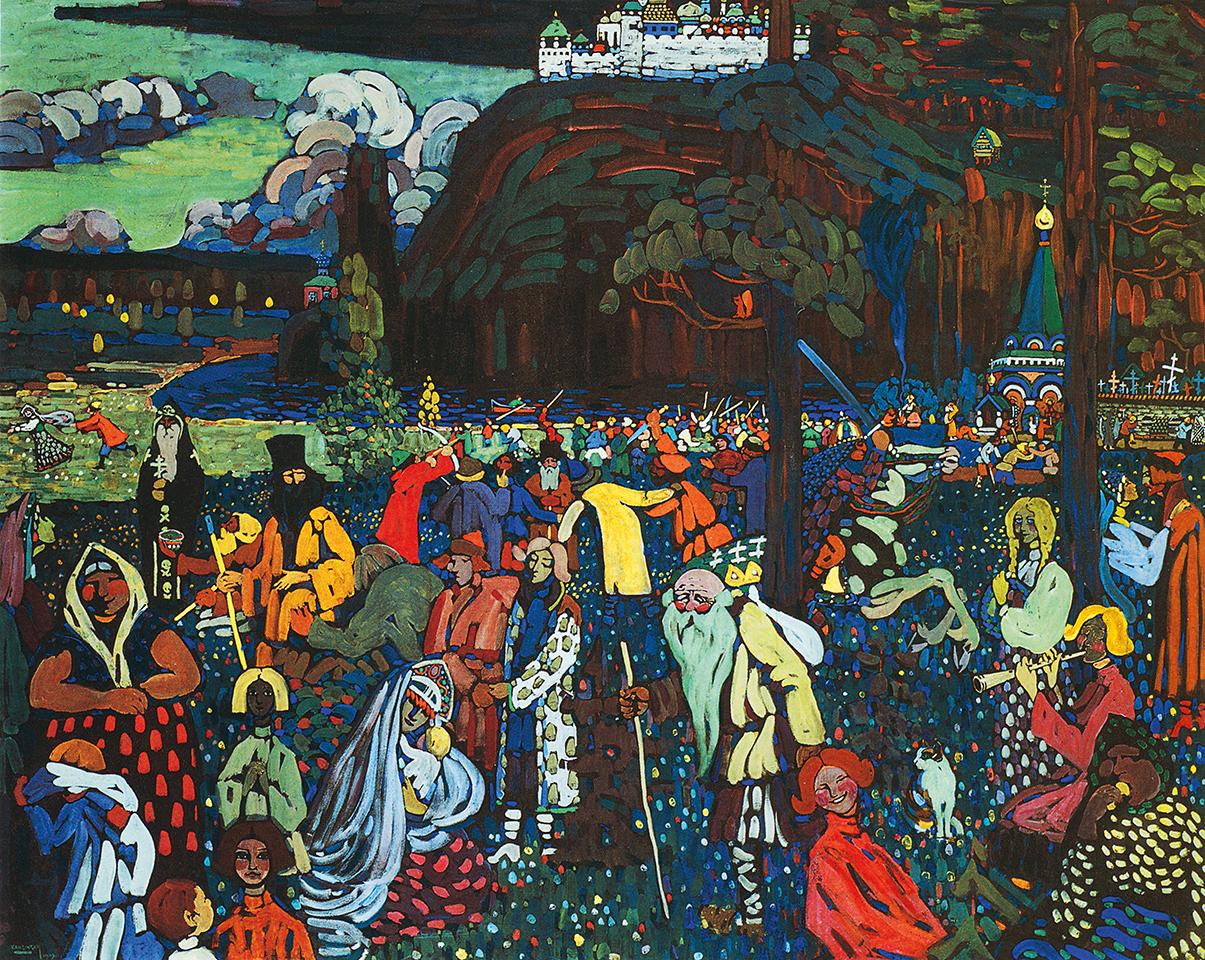 Vasilij Kandinskij, La vita variopinta, 1907, tempera su tela, Monaco, Lenbachhaus