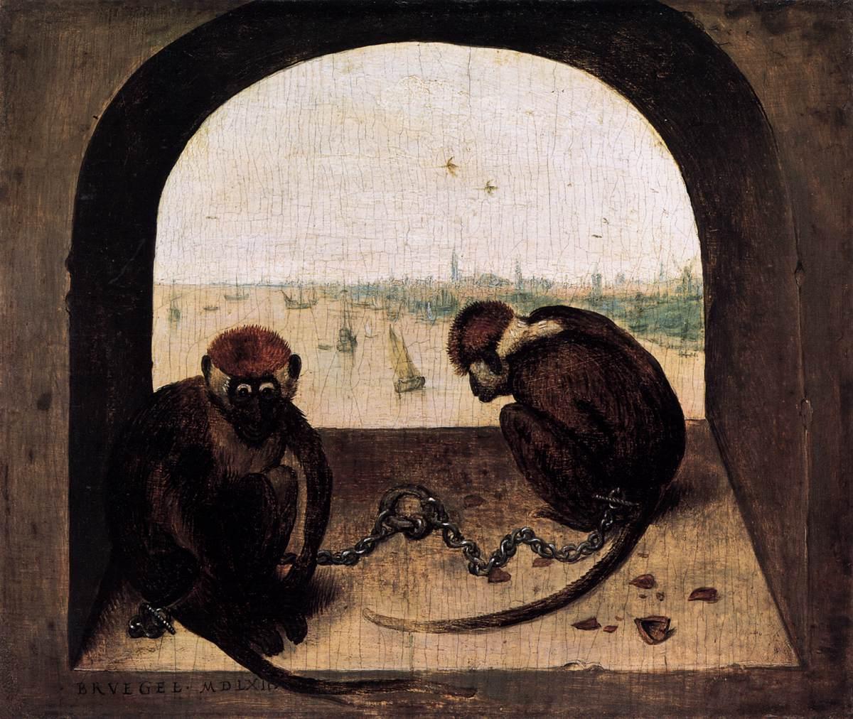Peter Brueghel, Due scimmie, 1562, olio su tavola