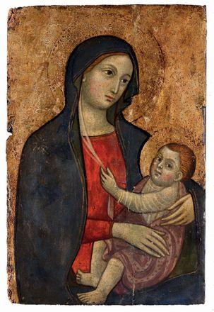 Icilio Federico Joni (1866-1946) Madonna col Bambino tempera e oro su tavola, cm 38x25