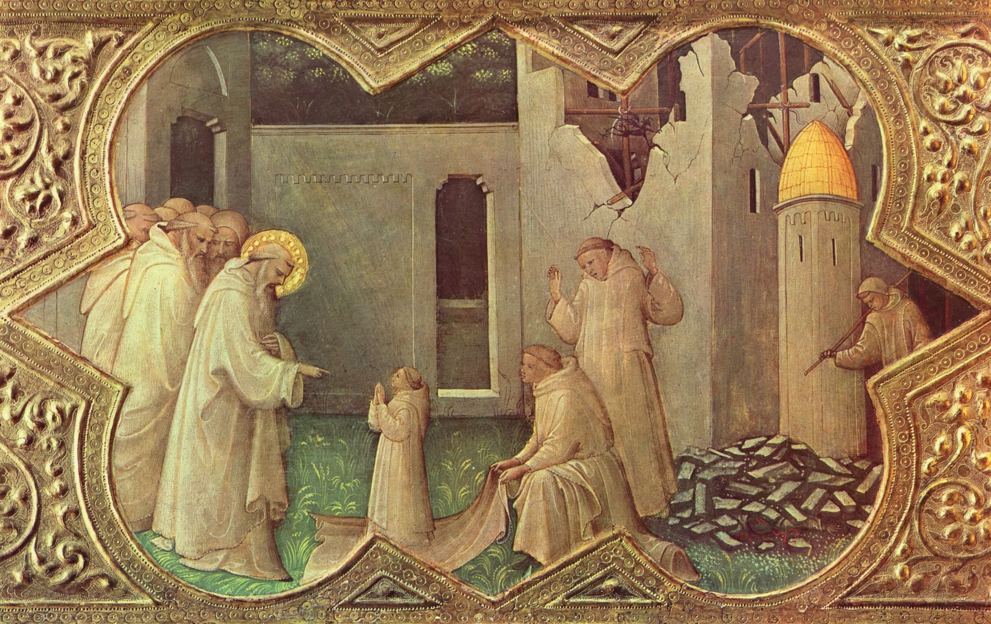 Lorenzo Monaco, Incoronazione della vergine part. della predella, 1414, Firenze, Galleria degli Uffizi. Opera restaurata da Ettore Franchi.