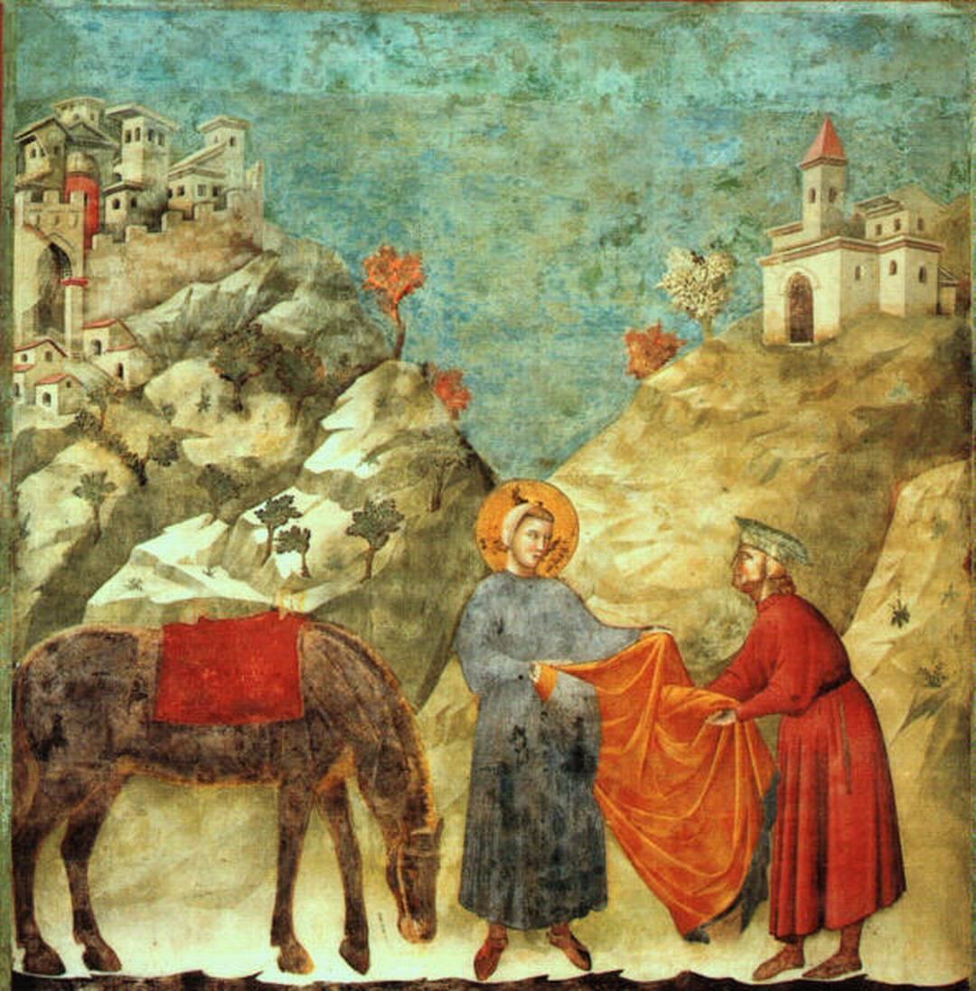 """""""Il dono del mantello"""", Giotto, 1295-1299, San Francesco d'Assisi, Basilica Superiore"""