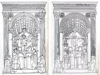 Masaccio (San Giovanni Valdarno 1401 - Roma 1428), La Trinità (1425-27); affresco; 667x317 cm. Firenze, Basilica di Santa Maria Novella. Schema delle giornate e restituzione grafica dei segni incisi nell'intonaco