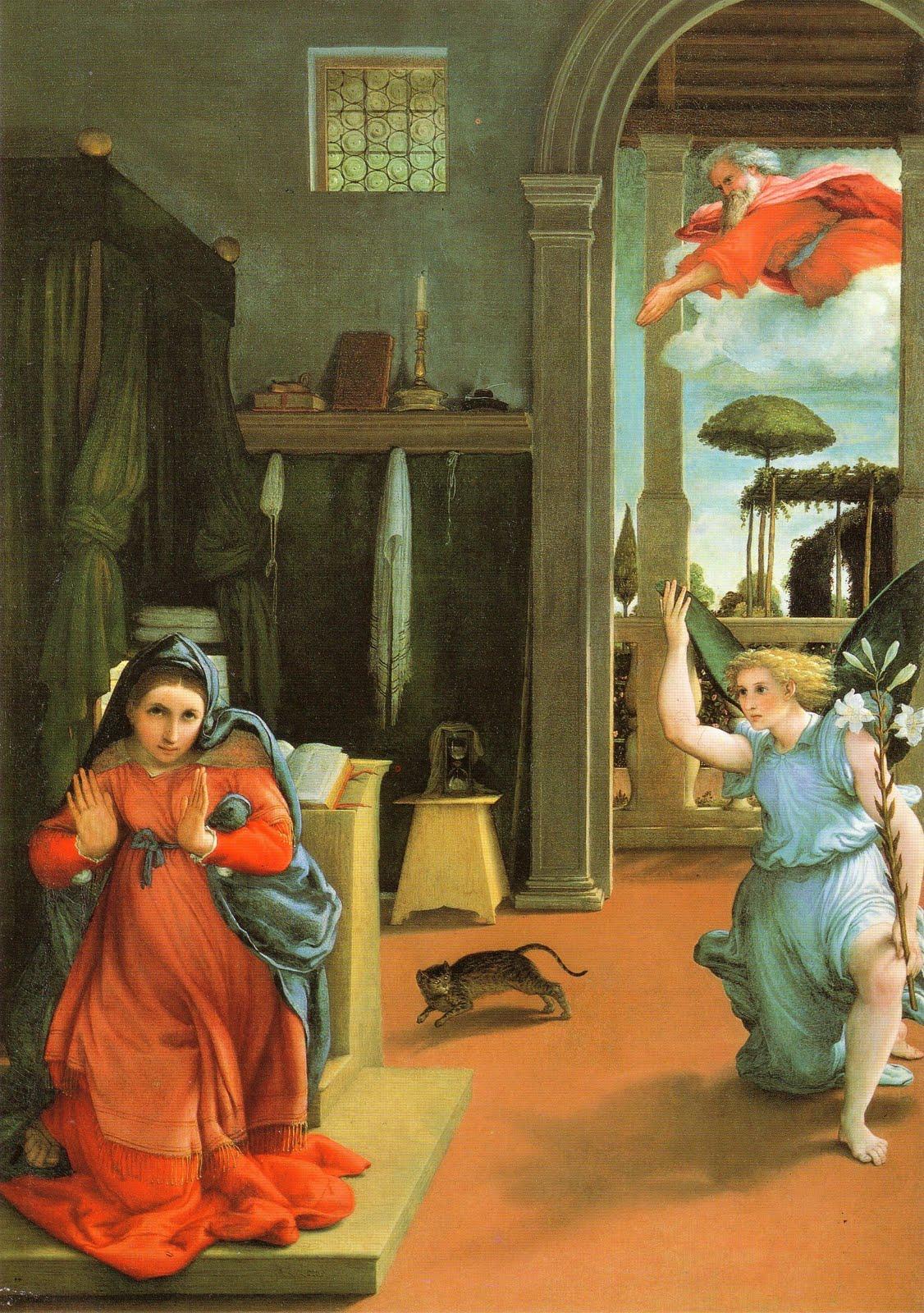 Lorenzo Lotto, Annunciazione, 1534, olio su tela, Recanati, Museo civico Villa Colloredo Mels.