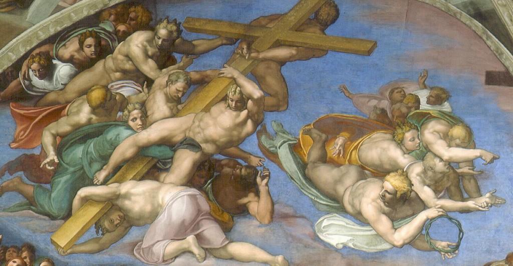 Michelangelo, Giudizio Universale, lunetta sinistra.