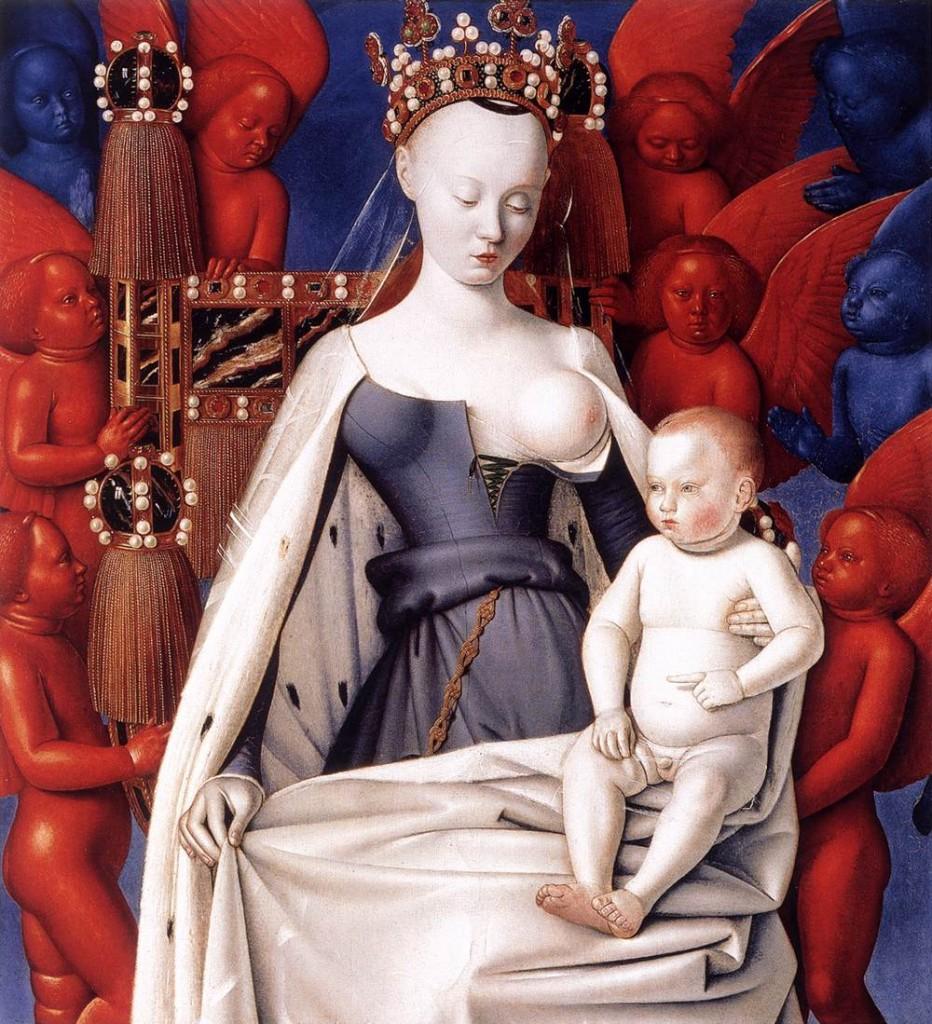 Jean Fouquet, Madonna del latte in trono con il Bambino, Dittico di Melun, 1450-1455