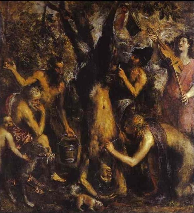 Tiziano Vecellio, Scorticamento di Marsia, 1575