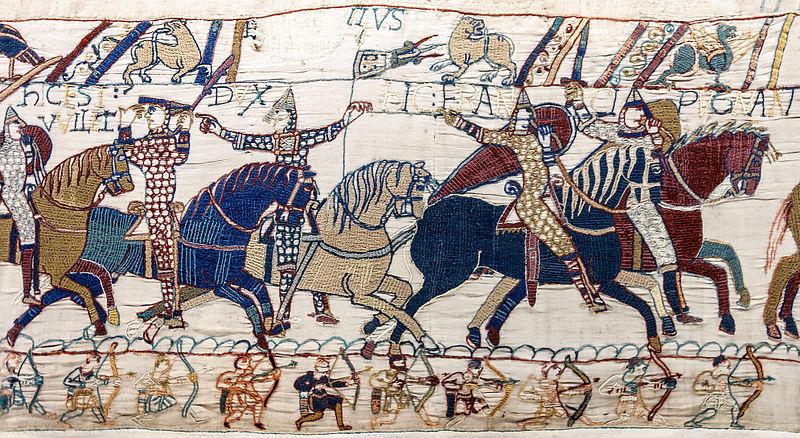 Arazzo di Bayeux (1066-77), ricamo in fili di lana su tela di lino, cm 50 x m 70, BBayeux, Musée de la Tapisserie