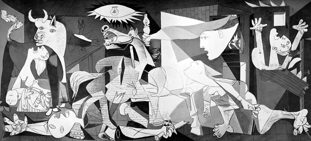 Guernica - Opera di Pablo Ricasso - Tempera su tela, 349 x 776,5 cm - 1937