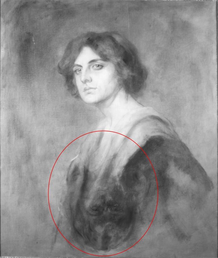 Riflettogramma IR (filtro di taglio 1000 nm) dell'intero dipinto con indicazione del volto raffigurato capovolto nella zona inferiore.