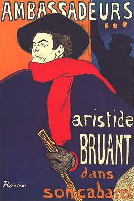 """Henri de Toulouse-Lautrec, """"Ambassadeurs: Aristide Bruant"""", 1892, manifesto"""