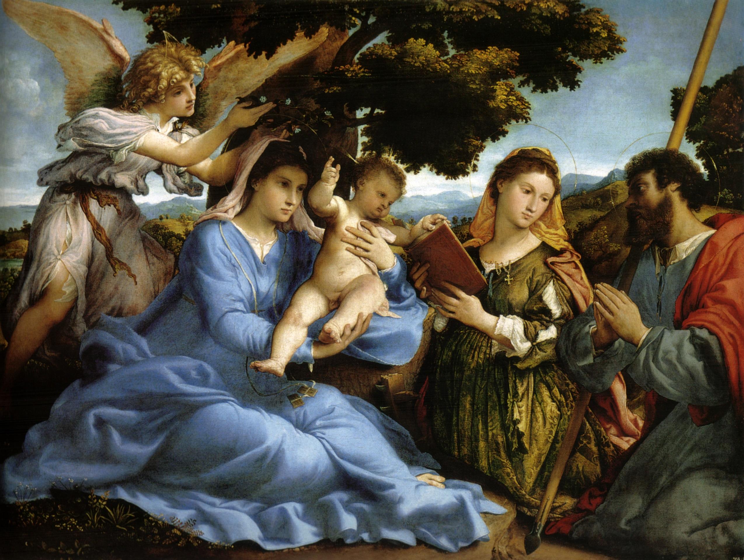 Lorenzo Lotto Madonna con il Bambino e i santi Caterina d'Alessandria e Tommaso, 1528 circa