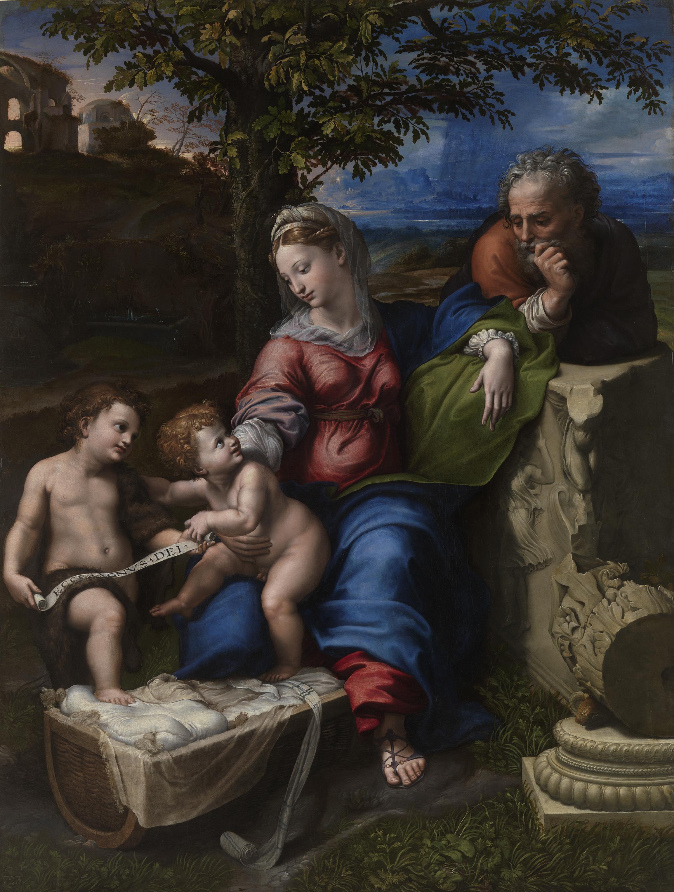 Raffaello Sanzio e aiuti, Sacra Famiglia sotto la quercia, 1518 circa