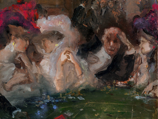 Pompeo Mariani, I sistemisti della roulette, 1910. Olio su cartone, 36 x 26 cm