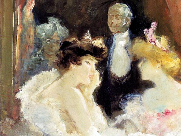 Pompeo Mariani, Palco alla Scala, 1900 circa. Olio su cartone, 29 x 24 cm