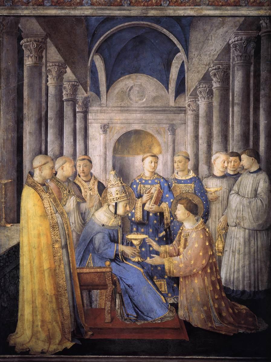 Consacrazione di san Lorenzo come diacono, Cappella Niccolina, Roma