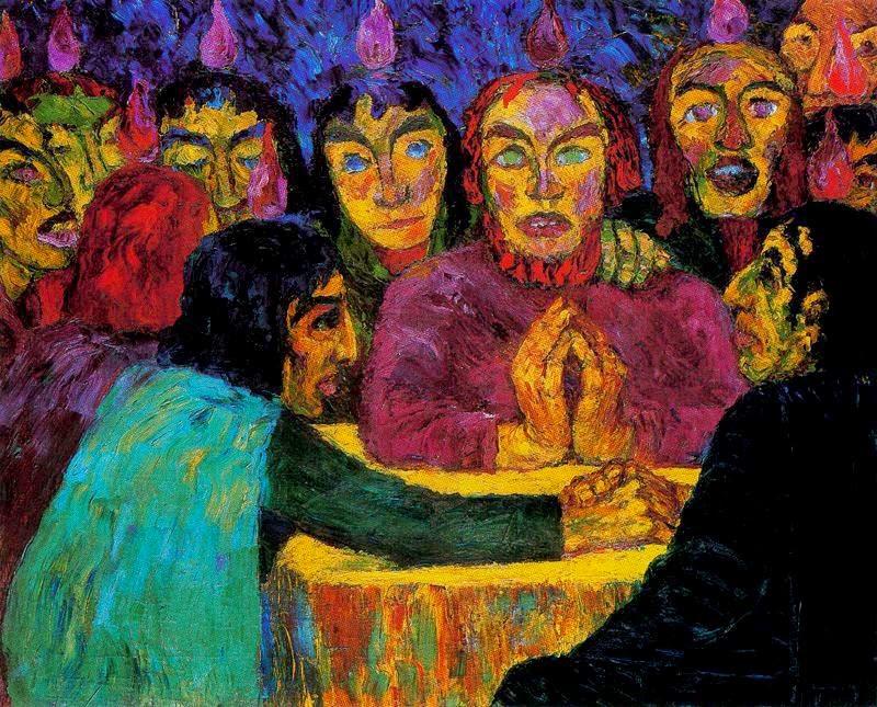E. Nolde, Pentecoste, 1909, olio su tela, Nationalgalerie, Berlino