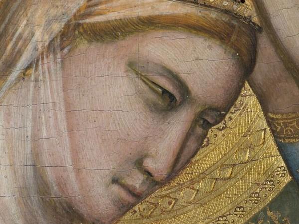 Giotto, Polittico Baroncelli, Incoronazione della Vergine, particolare 1330 ca, tempera e oro su tavola