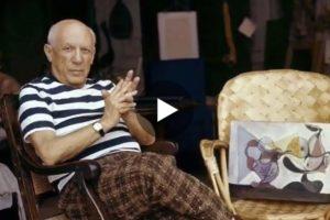 Picasso lavora nel suo studio. Qui il bellissimo filmato d'epoca