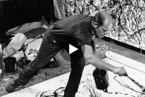 Jackson Pollock dipinge nel suo studio. Qui il video