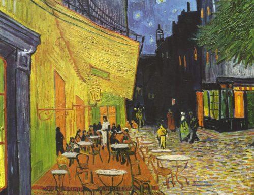 Dentro l'opera: Terrazza del caffè, la sera, Place du Forum, Arles di Vincent van Gogh
